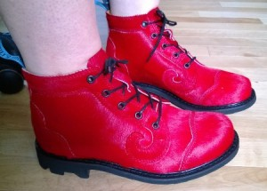 "Fluevog ""Red Pony"" Derby Swirls."