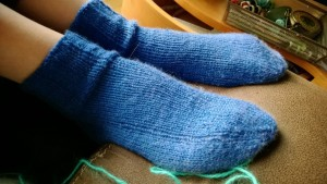 The first pair I made with the 2-circs style of knitting.  These are Alex's.