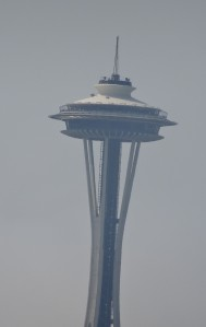 The Space Needle at 30x zoom.  It was a bit hazy today.  Also, the Space Needle does not lean.  Your author leans,.