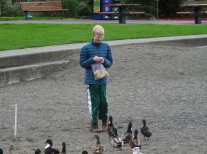 Same kid, different ducks.  He's wearing his Fluevog camo BBC boots.